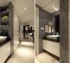 厕所外边的盥洗台,同样利用墙面原本的特点来进行改造,经济适用。