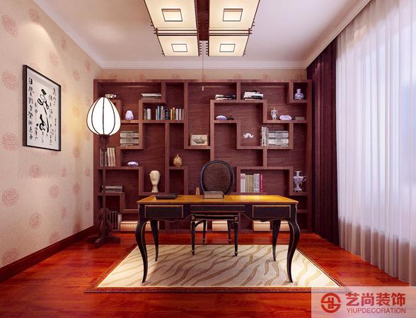 新中式 装修 客厅 餐厅 书房 27研究所装 书房图片来自曹素雅美巢装饰在27研究所四室新中式装修效果图的分享