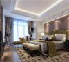 相对比较简单,但每个细节布置都十分精致,银色软面床和皮质背景墙的设计很有质感。