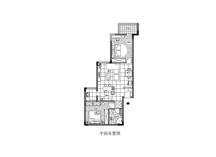 简约 二居 白领 收纳 旧房改造 户型图图片来自xushuguang1983在89平米精致个性两居老房翻新的分享