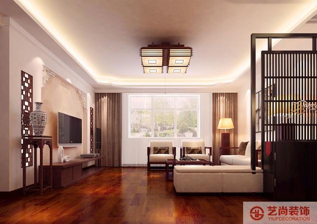 新中式 装修 客厅 餐厅 书房 27研究所装 客厅图片来自曹素雅美巢装饰在27研究所四室新中式装修效果图的分享