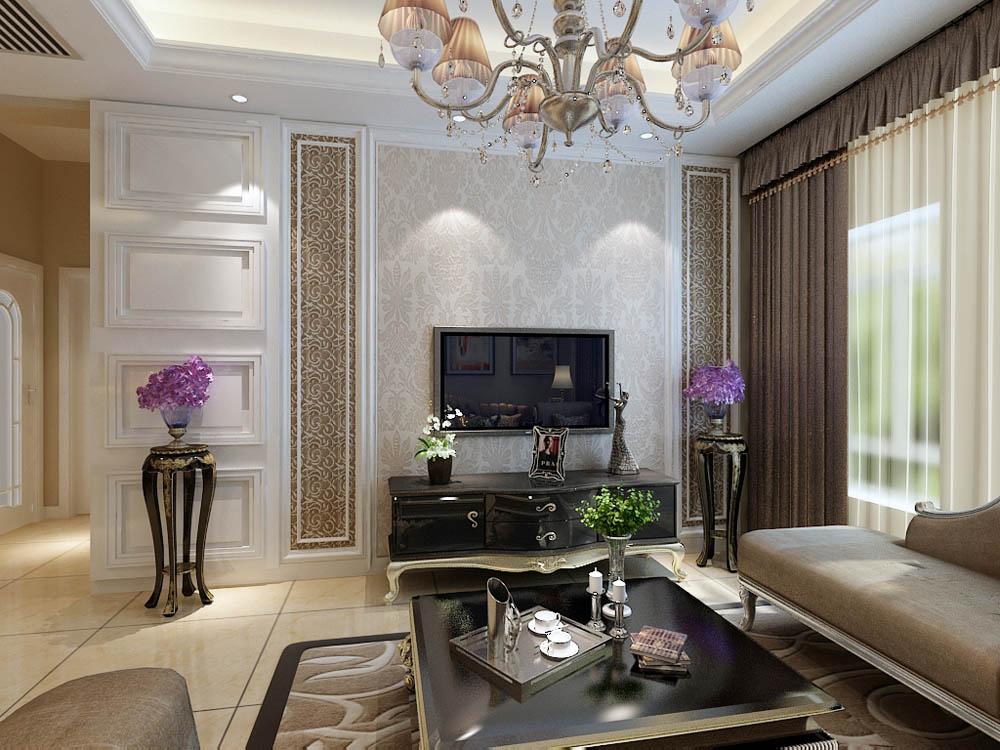 欧式 二居 白领 收纳 80后 小资 客厅图片来自阳光力天装饰在海河华鼎-80㎡-欧式的分享