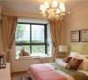 碎花和纯色搭配的窗帘,绿色和红色搭配的床品不觉得夸张反而有一种和谐的美感。