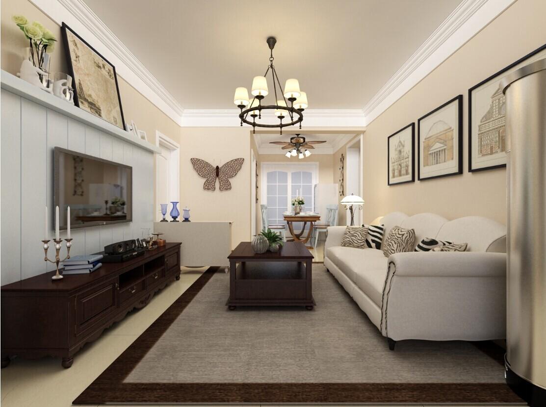 客厅图片来自大业美家装饰在94平富田兴龙湾美式乡村风格装修的分享