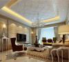 复古的宫廷式花纹沙发为主体,配上棕色的单座双座沙发,白色的家具以及华丽的大理石电视背景墙,打造出一个精致奢华的客厅。