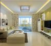 米色的电视背景墙配上灰色的沙发,可爱的的窗帘使得空间变得活跃。