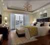 这间卧室也采用了欧式墙纸,深色的原木家具相对更加深沉严谨。
