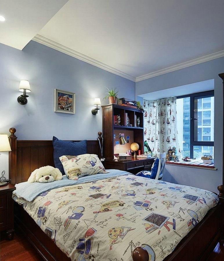 现代美式 日升装饰 装修设计 卧室图片来自装修设计芳芳在高速路紫荆长安137平现代美式的分享