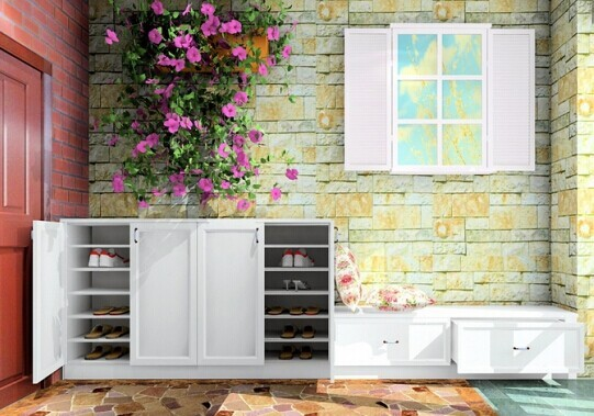 鞋柜上的花和旁边的花瓣抱枕相呼应,共同营造出纯洁美好的氛围。