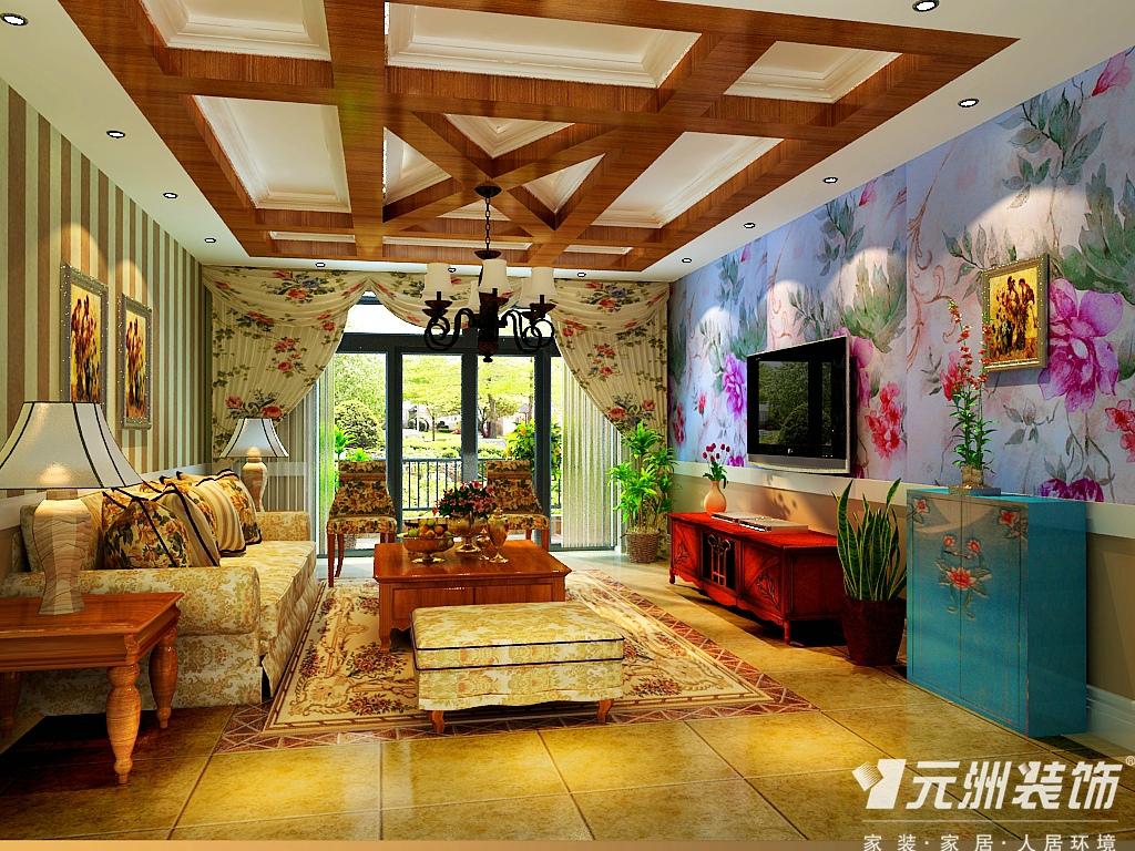 田园 元洲装饰 别墅 客厅图片来自石家庄-小程在原河名墅田园风格效果图的分享