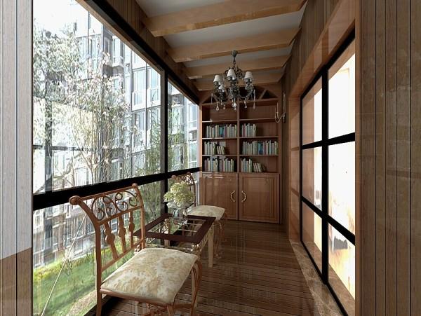 本案的阳台设计成了休憩的场所,阳台也同样做了个书柜,是业主闲暇看书的时光。