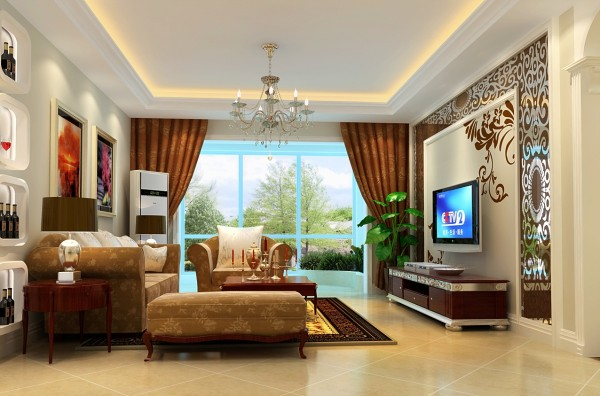 客厅:电视墙的烤漆玻璃结合个性的墙体彩绘,将时尚与唯美进行到底……