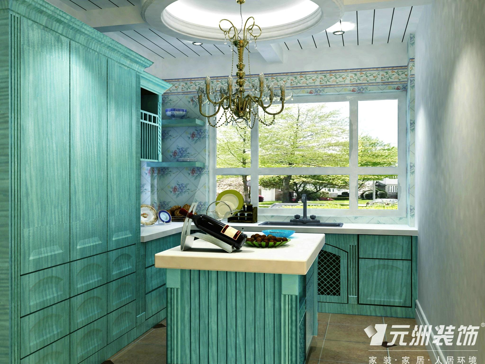 田园 元洲装饰 别墅 厨房图片来自石家庄-小程在原河名墅田园风格效果图的分享