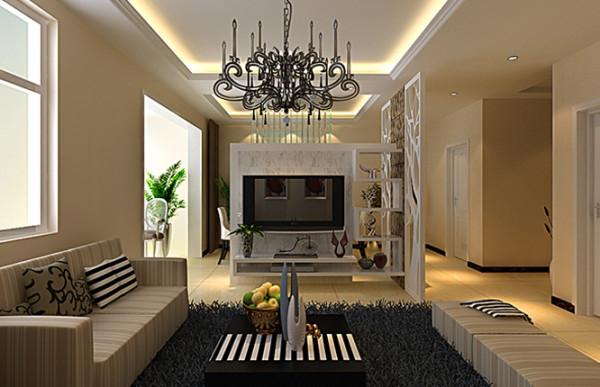 昌建誉峰143平方三室两厅两卫一厨装修效果图---客厅装修效果图