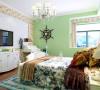 设计的风格是地中海田园,客厅地面采用米黄色仿古砖,沙发采用蓝白相间布艺沙发,墙面挂上两幅显示地中海田园风格的装饰画,鲜艳的色彩为整个空间增加了活力