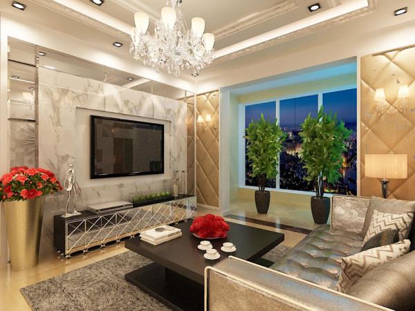 该户型为香邑国际一室两厅一卫,设计风格是简欧风格,整体以暖色调为主。