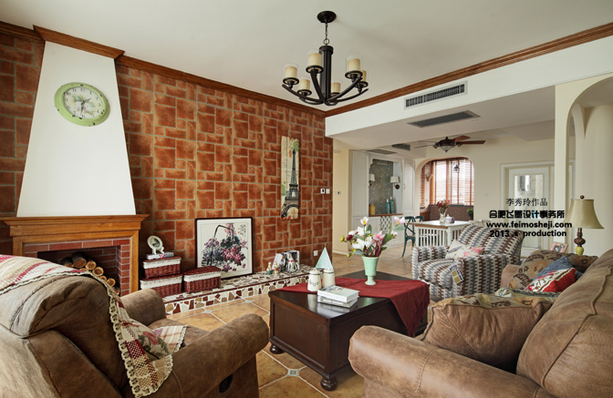 混搭 美式 白领 收纳 80后 小资 客厅图片来自合肥飞墨李秀玲设计在140平混搭风格晨光小路的分享