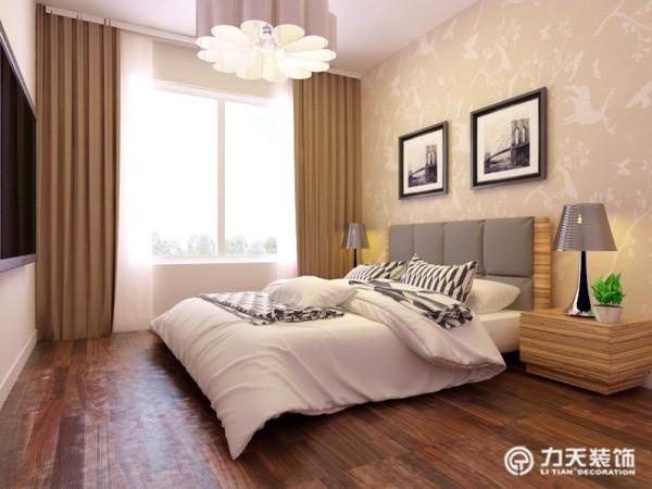 卧室背景墙铺贴壁纸,增添了时尚气息,简约大方