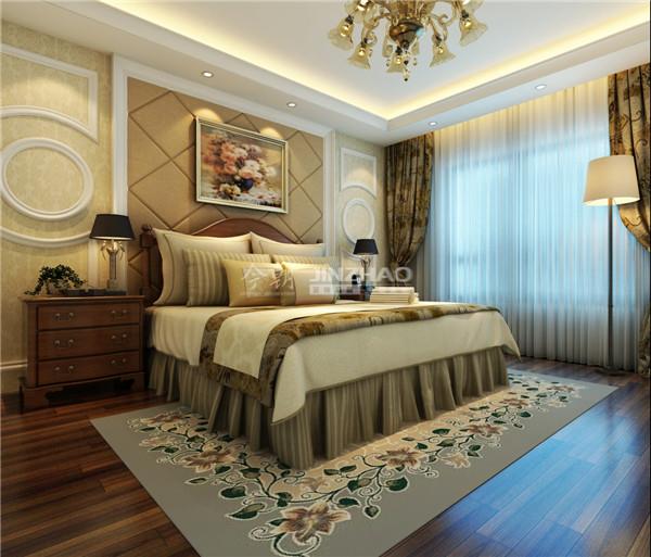 一贯的欧式风格,精致的墙面装饰加上大床的的布置简单,但每个细节布置都十分精致。