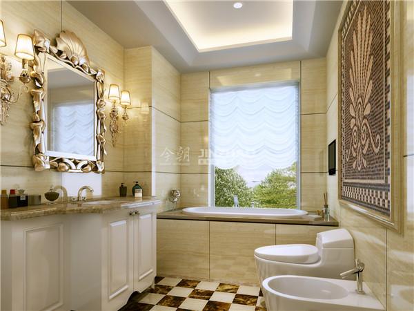 精致的镜框和壁灯设计直奔主题,明确了欧式风情的卫生间设计风格。