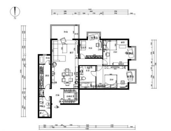和平新城小区127平新中式案例户型图