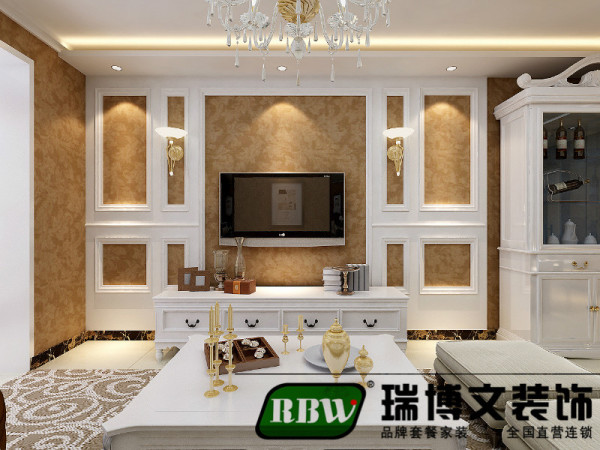 电视背景墙采用壁纸和石膏板,简单不失装饰性,满足了客户的要求。