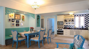 地中海 舒适 小清新 三居 餐厅 餐厅图片来自成都幸福魔方装饰工程有限公司在三室蓝色海  舒适小清新的分享