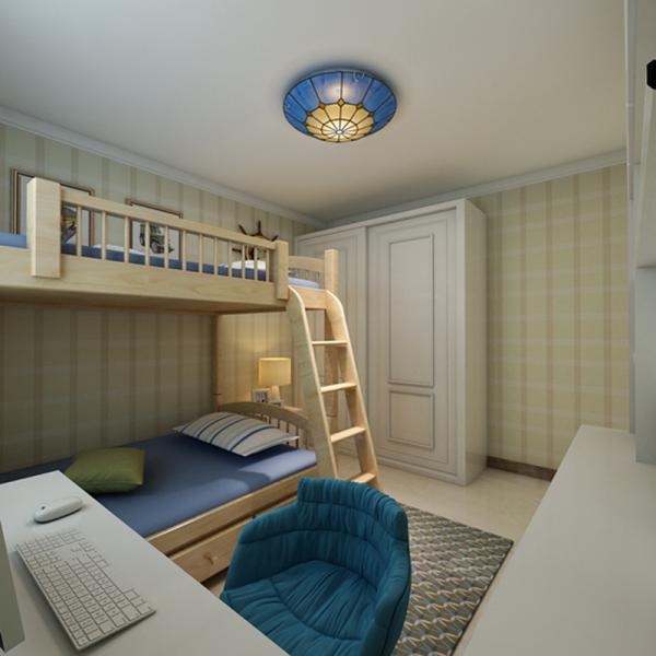 儿童房的设计很简单也很温馨,墙体和整体设计适用于孩子成长的任何一个阶段,家长以后只需要给孩子更换房间的家具即可,不需要再大费周章的去为孩子重新装修房子。