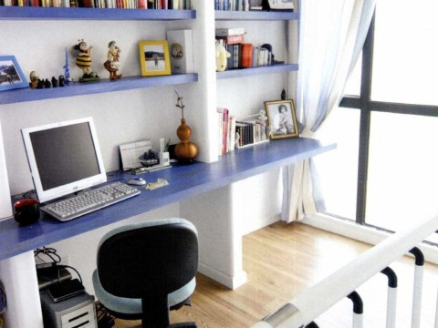 地中海 三居 白领 旧房改造 书房图片来自今朝装饰李海丹在130平米三居地中海的分享