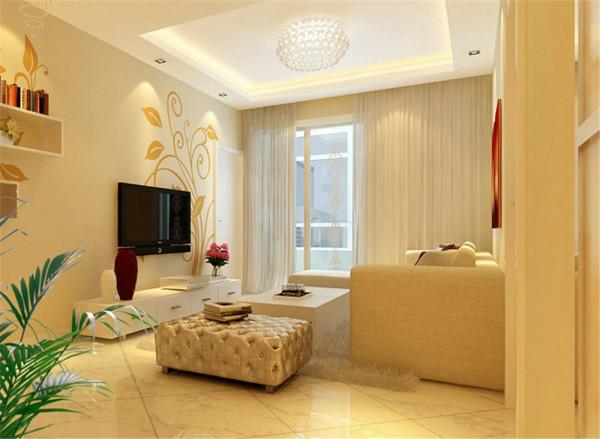 卧室满铺地板,墙面以壁纸为主,顶面用直线的吊顶的形式与下面空间结合在一起,所有家具一白色为主,简约奢华,让空间从色彩上明快起来。