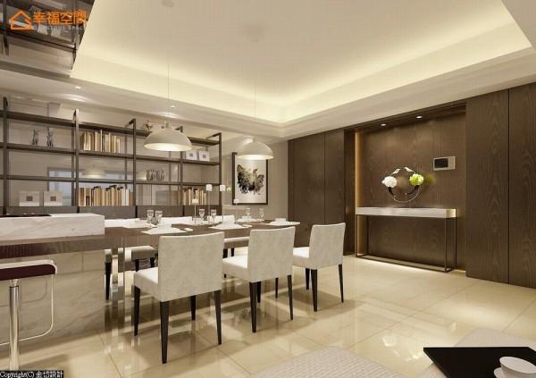 以铁件搭构木层板书墙作为空间主景,餐桌也可以是家人一同阅读的书房,一侧深色木质的端景,满足生活杂物的收纳并藏起通往厨房的动线。 (此为3D合成示意图)