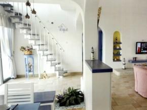 地中海 三居 白领 旧房改造 楼梯图片来自今朝装饰李海丹在130平米三居地中海的分享
