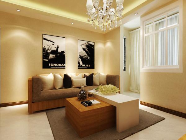 沙发选择了棕色的沙发,整体效果浑然天成,木色的茶几使得整体效果更加归于自然,既大方又气派。