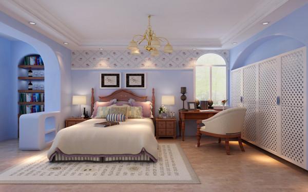 卧室并没有过多花哨的造型,阳台空间做了书柜,最大化的利用了空间。墙面以地中海味道十足的淡蓝色乳胶漆配以白色的石膏线,仅是这样就能感觉的到家的温馨。