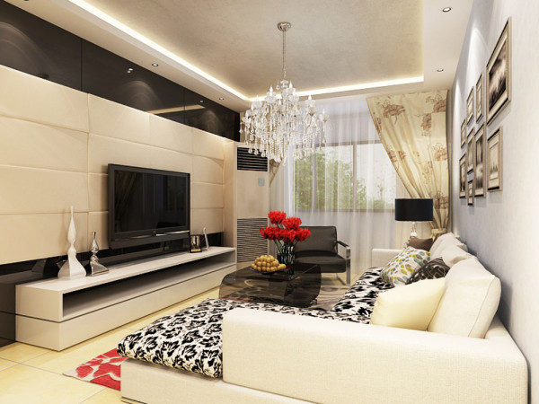 客厅在家具配置上,白亮光系列家具,独特的光泽使家具倍感时尚,具有舒适与美观并存的享受。 大量使用黑镜做为电视背景墙给人带来前卫、不受拘束的感觉。沙发线条简约流畅,色彩对比强烈,且具有完整的功能性。