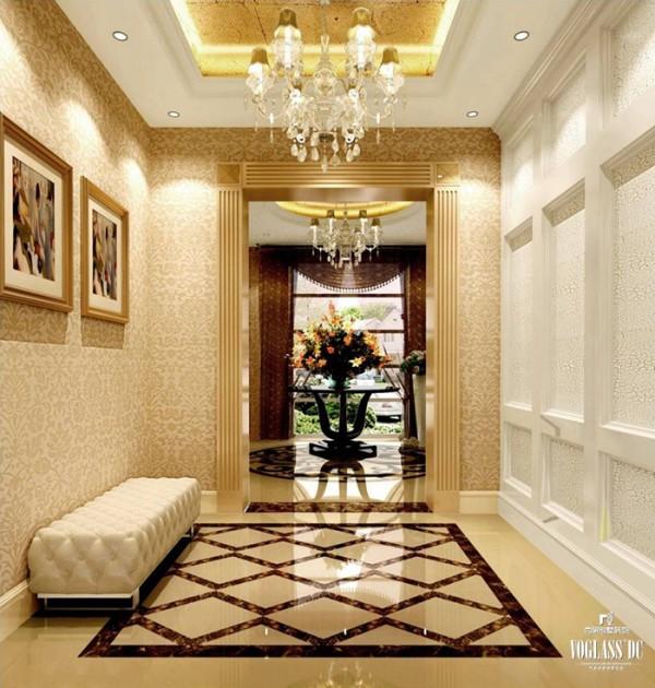 本案整体为欧式新古典风格,整体色调以暖色为主。上图为入户门厅,使用欧式传统那个的白色、金色以及棕色作为主体色调,同时辅以暖橙色,和谐温馨。