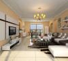 客厅整体还是以现代风格为主,带色的乳胶漆可以使整个空间看起来比较温馨,顶部的造型也比价简单,只是为了简单的做下区域划分,满足了业主对于客厅的要求,简洁 大方 温馨 时尚。