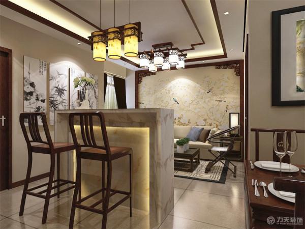 厅里摆一套明清式的红木家具,墙上挂一幅中国山水画等。本方案中,吊顶为回型发光灯池造型以及木线圈边,地面通铺仿理石800*800地砖,中式氛围十分浓郁