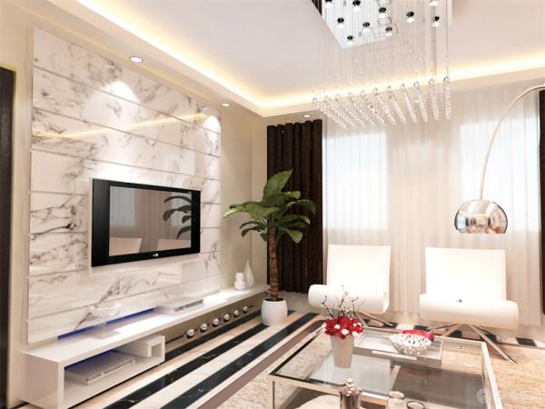 客厅大量使用白色,色彩简洁明快,给人舒适自然的感觉。地面采用黑白相间的瓷砖,再加上鲜艳的装饰画整个空间更加活泼富有活力