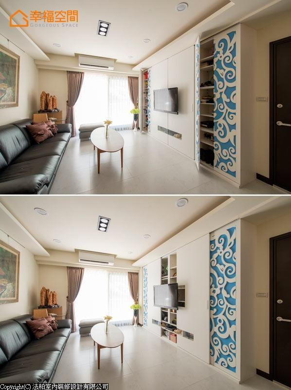 电视主墙兼具鞋柜、置物柜与机柜等多元功能,外观则以白色烤漆图腾与水蓝壁纸作左右对称的设计,呈现均衡的美感。