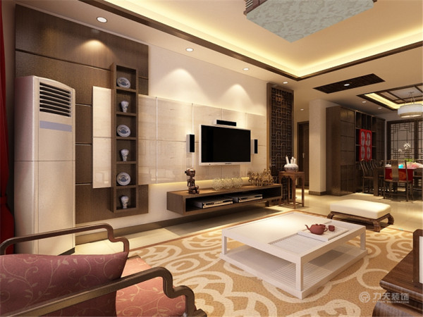 电视背景木艺中式的造型,再配以同色系的电视柜使电视背景看起来充实又不混乱。居室空间是根据相互间的功能关系组合而成的,而且功能空间相互渗透,空间的利用率达到最高