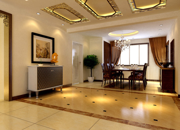 设计理念:新中式的混搭运用。 亮点:玄关柜及灯具的选择,以及带有古典元素的白色木门,使人在品味古典韵味时又透露着现代时尚的气息。