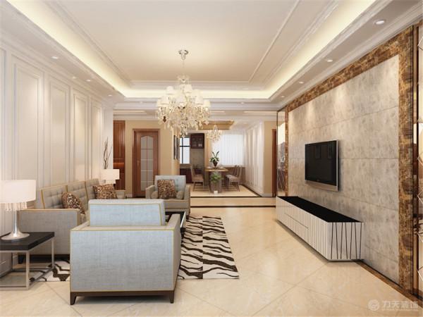 这是一个三室两厅一厨两卫的户型。此案为简欧风格。