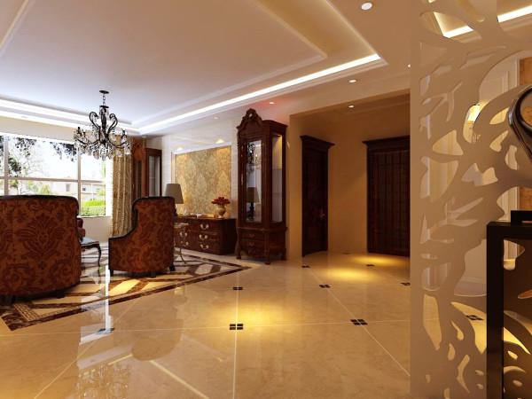 入口的玄关设计侧面大面积墙的鞋柜满足生活要求,对面采用镂空雕花通透又不失私密,地面瓷砖拼花的设计让地面空间更加丰富