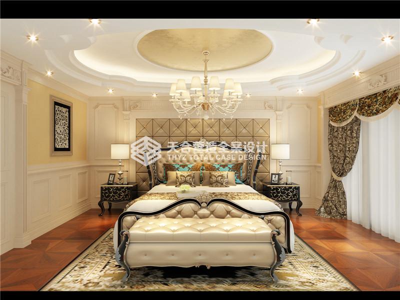 武汉装修 华侨城 新古典风 复式 卧室图片来自武汉天合营造设计在华侨城纯水岸350平新古典风的分享