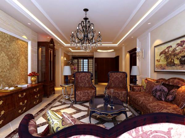 客厅墙面大面积的暖色壁纸更显温馨。