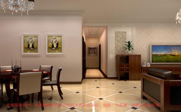 走廊简单明快,端景墙贴壁纸符合现代人的生活品味,创造一个温馨,健康的家庭环境。