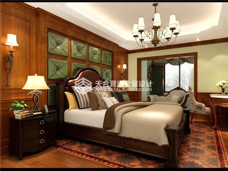武汉装修 美式效果图 泛海国际 卧室图片来自武汉天合营造设计在泛海国际樱海园190平美式风的分享