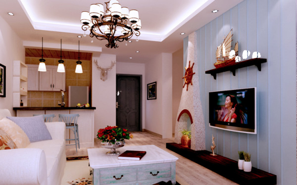 设计理念:客厅为地中海风格的小居室,蓝白相间的搭配,充满着清新浪漫的气质。在这样的小天地里,舒适惬意。 亮点: 客厅比较狭小,尺寸电视背景做壁炉装饰,使空间利用率更高。