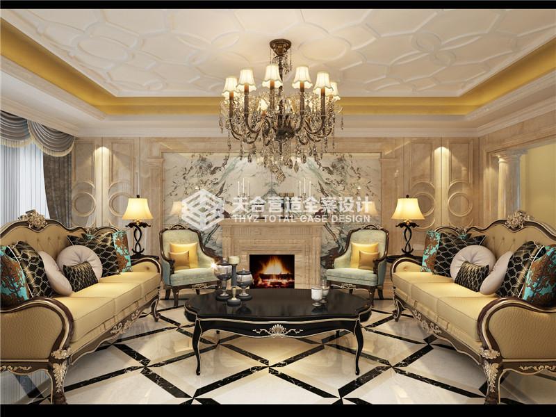 武汉装修 华侨城 新古典风 复式 客厅图片来自武汉天合营造设计在华侨城纯水岸350平新古典风的分享